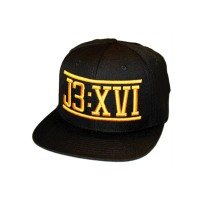 J3:XVI black and gold snapback