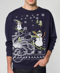 Skip N' Whistle Octopus Snowmen Ugly Christmas Sweater T-Shirt