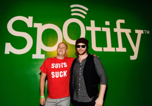 Spotify founder, Daniel Ek, poses with Sean Parker.