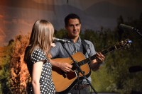 """Jenny & Tyler play """"One Eyed Cat"""" at the Downtown Church in Des Moines, Iowa."""