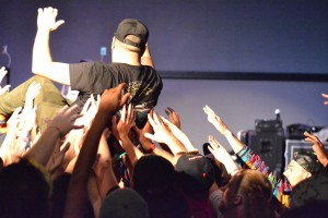 Marty stage dives into the crowd at Zeke's in Ames, Iowa