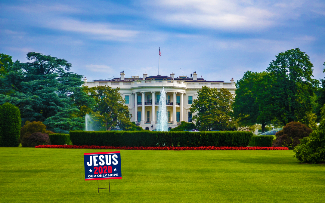 Jesus for President sign on White House lawn