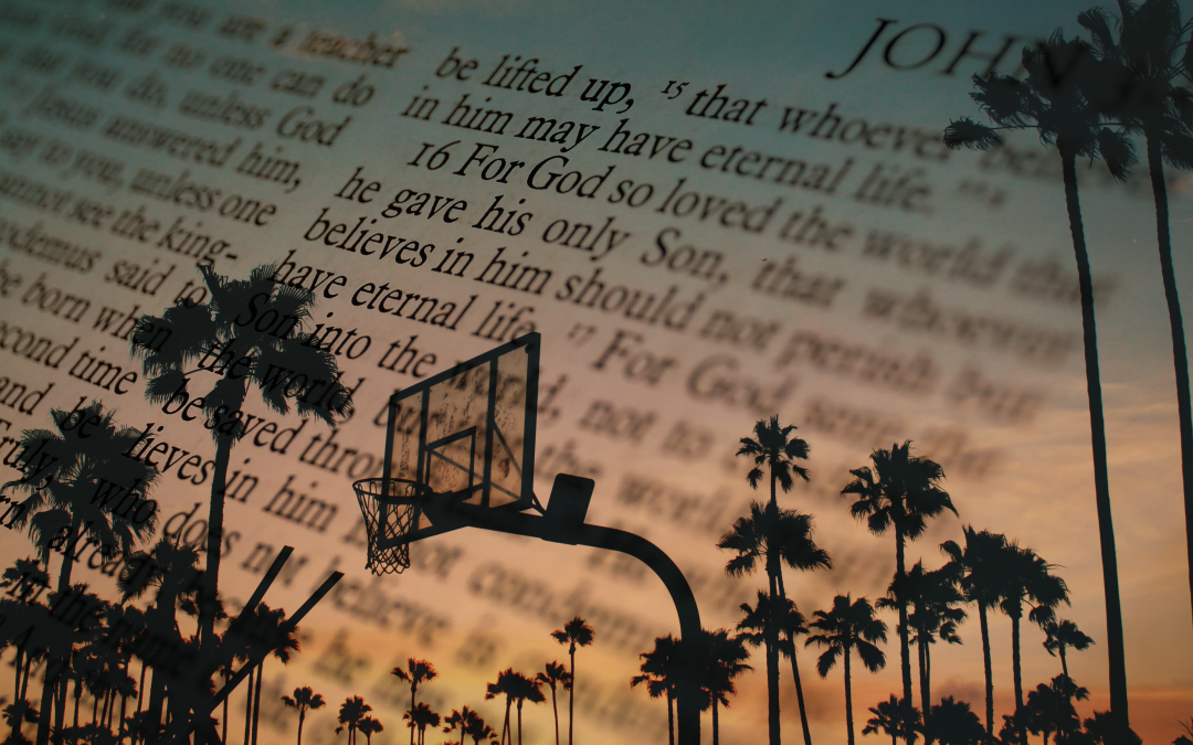 Bible and Basketball Court Collage
